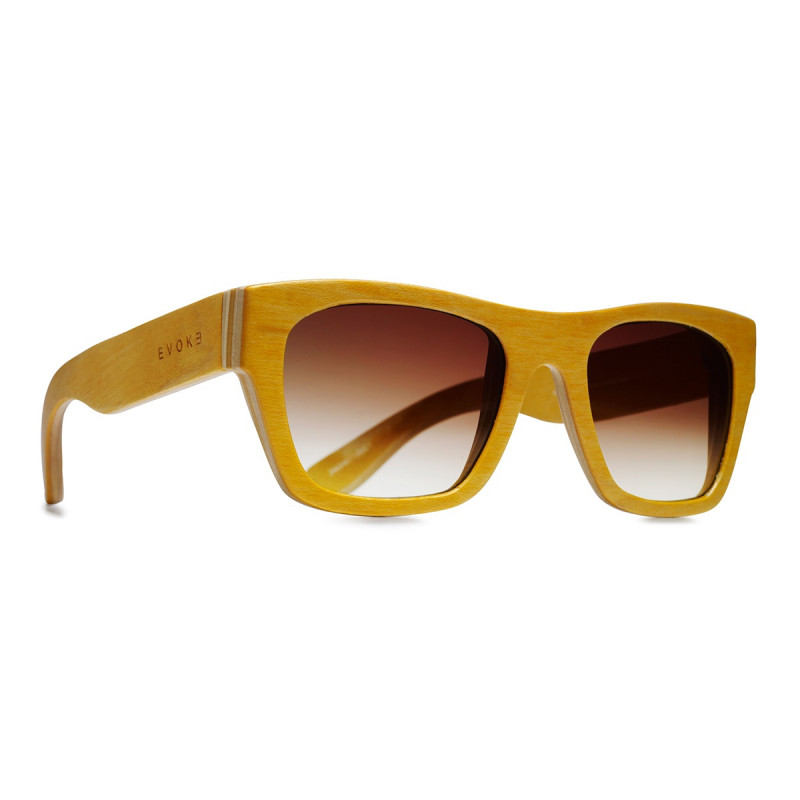 Óculos Evoke - Wood Series 02 Maple Collection Yellow Laser Brown Gradient ce1d25891e